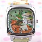 RARE MOOMIN & FRIENDS SQUARE QUITZ LEATHER PAINTED BAND WATCH W  GIFT BOX 3G1221