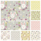BUNNY GARDEN by LEWIS & IRENE - RABBIT 100% COTTON FABRIC pink grey yellow