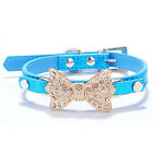 Bling Rhinestone Bow PU Leather Crystal Bowknot Puppy Collar Pet Dog Cat Collars