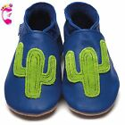 Girls Boys Luxury Leather Soft Sole Baby Shoes - Cactus Cobalt - Inch Blue