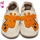 Girls Boys Luxury Leather Soft Sole Baby Shoes - Giraffe - Inch Blue