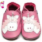 Girls Luxury Leather Soft Sole Baby Shoes - Unicorn Rose Pink - Inch Blue