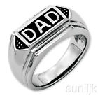 """Stainless Steel Polished, Enameled Mans' """"DAD"""" Ring"""