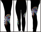 Plus One Size Contouring Slimming Black Leggings Rhinestone Skull Chief Feathers