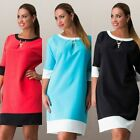 Women Lady Vintage 3/4 Sleeve Dress Loose Plus Size Tunic Tops Blouse Mini Dress