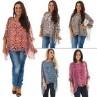 New Ladies Italian Lagenlook Quirky Leopard Print Baggy Silk Top Size 10 to 18