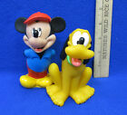 Mickey Mouse & Pluto Dog Disney Toys Figures Hard Rubber Hands Behind Back Smile