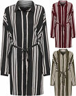 Womens Plus Striped Baggy Shirt Dress Long Sleeve Collar Button Belted Ladies