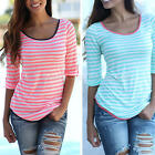 New Lady's Girls Summer Casual Half Sleeve Stripe Slim T-Shirt Blouse Party Tops