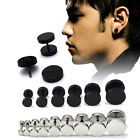 2X Fashion Men Barbell Punk Gothic Stainless Steel Ear Studs Earrings Unisex WB