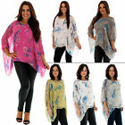 New Ladies Stylish Italian Silk Floral Rose PrintBaggy Tunic Top Size 10 to 16