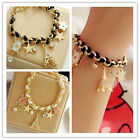 New Girls Fashion Jewelry Lovely Crystal Leather Gold Chain Bangle Bracelet Gift
