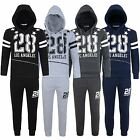 Kids 28 Los Angeles Tracksuit Boys Girls Fleece Jogging Bottoms Hooded Top 3-14Y