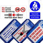 Choice of 5 Warning Sticker Labels - Seat Belt No Tools No Food Drink Smoking