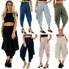 New Womens Italian Three Quarter Baggy High Waisted Harem Pants Size S M 8 10 12
