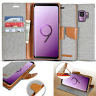 Canvas Leather Slim Flip Holder Wallet Case Card Cover For Galaxy S10+ iPhone XR