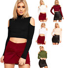 Womens Cut Out Shoulder Crop Top Ribbed Long Sleeve Turtle Neck New Ladies 6-12