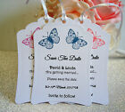 10 Personalised Save The Date Cards/Tags with butterflies Inc. Envelopes