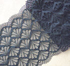 "3 - 4 Yards 8"" Wide Stretch Black Lace with Gold Metallic On Edge 789"