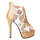 Glam Beige Open Toe Floral Clock Stiletto Ankle Bootie Pump Size 4/5/6/7/8/9/10
