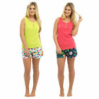 Ladies Tropical 100% Cotton Summer Pyjamas Vest Top & Shorts PJs Nightwear Set