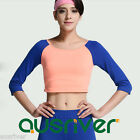 Ladies Sports 3/4 Sleeve Top Shirt Womens Fitness Yoga Gym Workout Suits