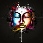 Buddha Relax Face Abstract Colourful WALL ART CANVAS FRAMED OR POSTER PRINT