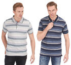 Mens Stripe Jersey Polo Shirt Top T-Shirt Short Sleeve Yarn Dyed Size S-XXL New
