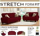 STRETCH FORM FIT NEW 2 PC SOFA + LOVESEAT COVERS/SLIPCOVER MANY COLORS AVAILABLE