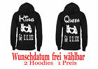 King & Queen Pullover Hoodie Partner Look Couple Wunschdatum White XS - 5XL