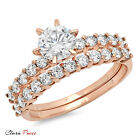 3.20 CT Sim Engagement Ring Bridal band set  Round Cut Rose Sterling Silver RP