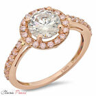 2.50 CT Sim Engagement Ring Round Cut Halo Rose  Sterling Silver Bridal band GP