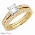 1.35 CT Round Cut Sim Engagement Bridal Ring band set Multi Sterling Silver GP