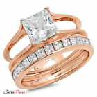 3.55 CT Princess Cut Sim Engagement Bridal Ring band set Rose Sterling Silver GP