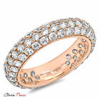 2.55ct Sim pave set Wedding Promise Engagement Band Ring Rose Sterling Silver GP