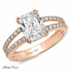4.45 CT Cushion cut Sim  Engagement Promise Bridal ring  Rose Sterling Silver GF