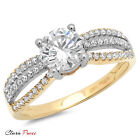 1.3CT RD Cut A+ CZ halo Engagement Ring Bridal band Multi Sterling Silver GF