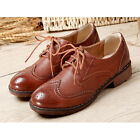 Women Fake Leather Lace up Round Toe Oxford Shoes Vintage Perforated Shoes