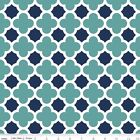 QUATREFOIL  - TEAL & NAVY - RILEY BLAKE 100% COTTON FABRIC