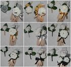 2PC Corsage Boutonniere Set Soft touch White Rose Pick Black Or Gold Or Silver