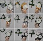 2PC Corsage Boutonniere Set Soft touch White Rose Accents of Silver, Gold, Black
