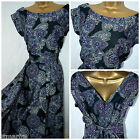 NEW PLUS SIZE RETRO TEA DRESS BLACK PURPLE WHITE FLORAL PAISLEY SWING 16 - 28