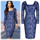 Women's Elegant Cocktail Evening Party Floral Lace Sexy Bodycon Pencil Dress