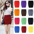 Women Elegant A Line Pure Color Stretch Mini Skirt Fitted Slim Tight Shorts