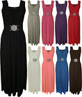 New Womens Buckle Wrap Over Party Evening Ladies Sleeveless Long Maxi Dress 8-14