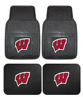 Wisconsin Badgers Car Truck Mats Front & Rear 4 Pc HD Vinyl