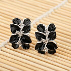Black Leaf Western Style Fashion Earrings Rose White Gold Plated New