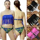 Women sexy Tassel Bandeau Bikini Set Swimsuit Lingerie Padded Swimsuit Swimwear