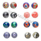Lot of 10 Multi-Colored Tie Dye Round Resin Beads Small - Big In Many Colors