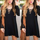 Women Summer V-neck Hoodie Lace up Pullover Top Long Sleeve Party Shirt Blouse